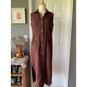 Vintage nubby linen shirt dress
